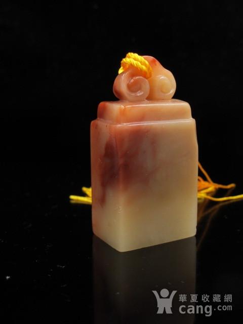 精品 寿山结晶老性红白芙蓉冻石如意钮图4