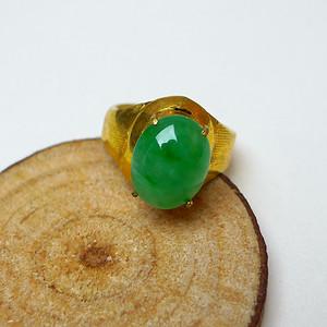 冰种满绿镶铜戒指