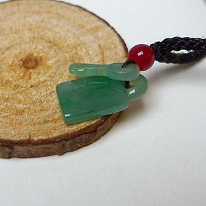 冰种满绿平安锁吊坠