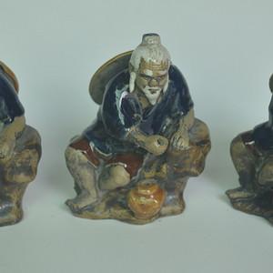 三个石湾窑渔夫