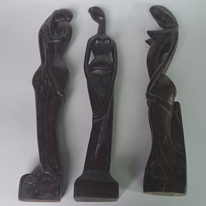 三件 人物木雕件