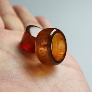 棕红缅甸琥珀戒指 27JG02