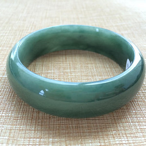 天然A货翡翠老冰种满绿水润54.6圈手镯W152
