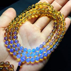 墨西哥净水蓝珀!纯天然原矿无优化琥珀精品蓝珀圆珠108佛珠手链