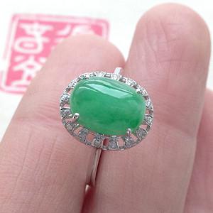 天然A货翡翠 18K镶钻阳绿蛋面戒指女XG15