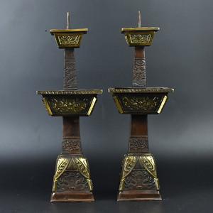 联盟 齐天阁黄铜精品浮雕四方灯台