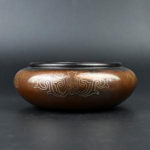 联盟 齐天阁紫铜掐银丝缠枝莲笔洗