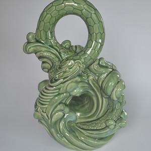 精美美陶翠绿釉福蛇