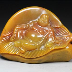 经典收藏 精品老挝田黄石《福在眼前》