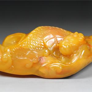 珍品雅藏 顶级寿山鹿黄杜陵冻圆雕《鳌龙》手件