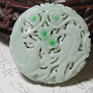 老坑 翡翠 阳绿巧雕 喜上眉梢 玉佩