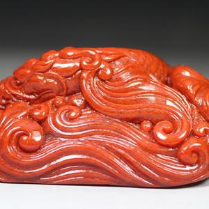 经典收藏  珍品 寿山朱砂芙蓉冻手件《鳌龙》