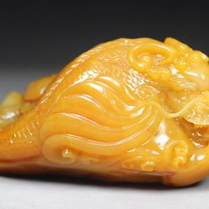 顶级收藏  顶级 巴林福黄冻圆雕《鳌龙戏珠》手件