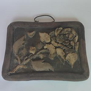 老红木画框牡丹