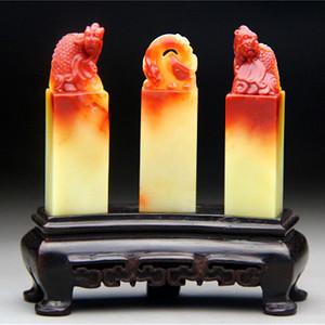 盛世收藏  精品寿山蜡烛红芙蓉石三连章