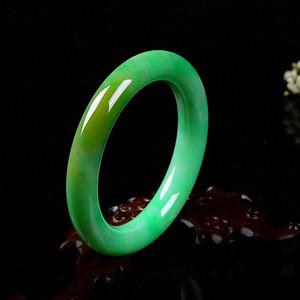 A货翡翠满阳绿圆条手镯