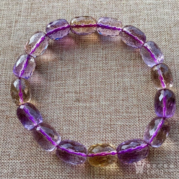 天然刻面紫黄晶手链图1