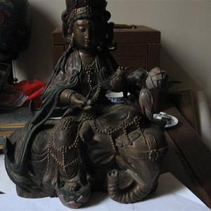 明清瓷杂0元拍 几十年樟木漆金文殊菩萨造像