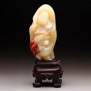 文房雅玩  精品寿山水洞高山石《福在眼前》