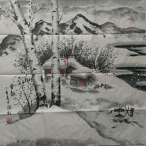 冰雪山水画作品《雪韵》
