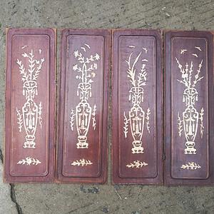 梅兰竹菊花梨木镶嵌板一套