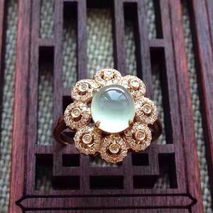 天然A货翡翠18K金钻石玻璃种圆蛋面女戒指环 207