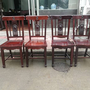 民国雕刻椅子4把一套