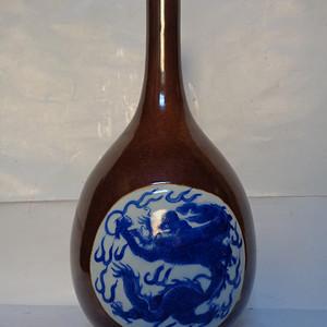 酱釉青花胆瓶