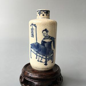 清中晚期 青花人物故事煨瓷鼻烟壶
