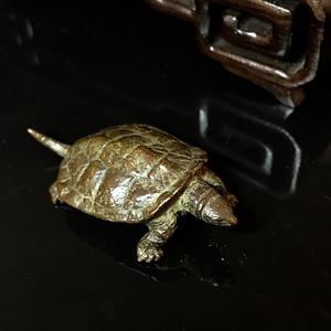 日本回流小铜乌龟 茶宠一件