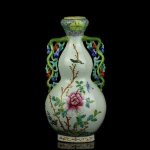 1民国粉彩花鸟纹葫芦瓶