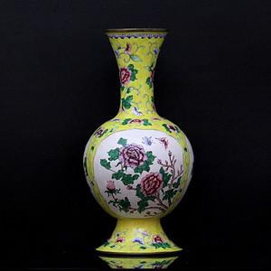 2老铜胎画珐琅开光花卉纹观音瓶