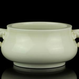 19清早期德化窑白釉象耳圈足炉