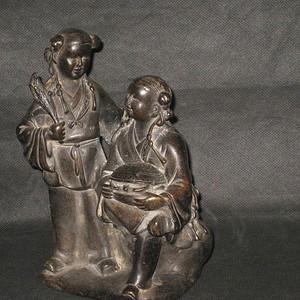 清代和合二仙铜雕摆件