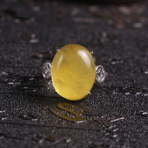 鸡油黄蜜蜡戒指925银镶嵌