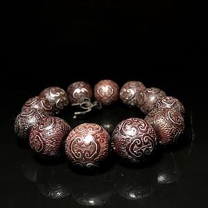 天然印度小叶紫檀嵌银如意纹手串一条