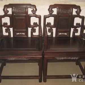 回流民国苏工精品老红木什锦灵芝大太师椅一套