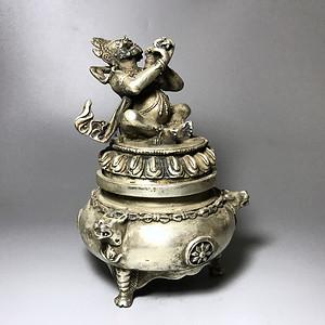 精品 收藏级 藏传回流百年藏银香炉