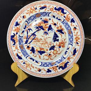回流精品 清代矾红青花瓷赏盘一只