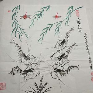 齐白石弟子唯一在世弟子,国画大师董长青老师作品《五福聚财》68X68c