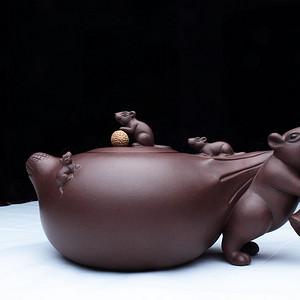 镇店之宝:紫砂大师季益顺 研高 作品:五子登科