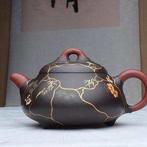 紫砂大师季益顺作品:金合欢! 24K描金