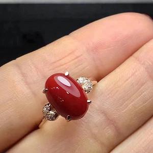 天然红珊瑚戒指