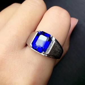 天然蓝宝石男士戒指