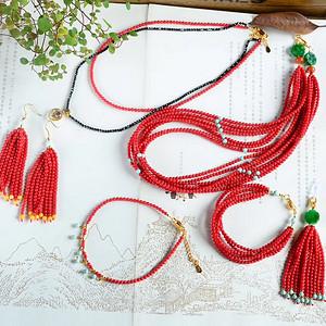 天然红珊瑚套装6件套