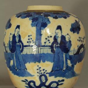 清代哥釉青花人物纹罐