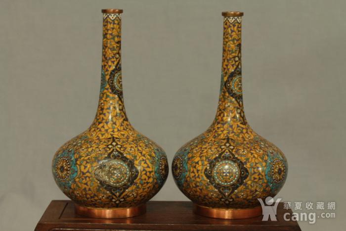 铜胎掐丝天球瓶一对图5