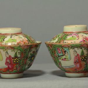 广彩人物花卉纹盖碗