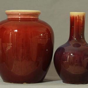 民国红釉瓶罐两个