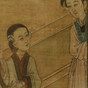 清代人物故事绢本设色三幅 镶框